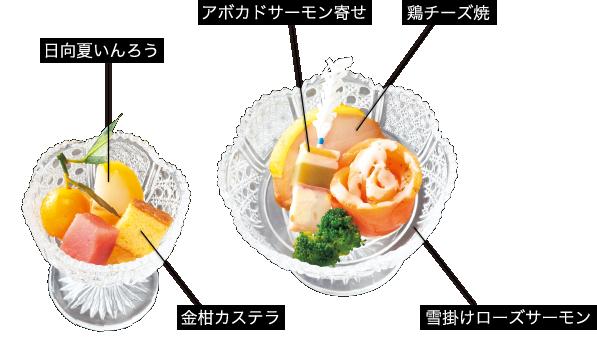日向夏いんろう、アボカドサーモン寄せ、鶏チーズ焼き、金柑カステラ、雪掛けローズサーモン